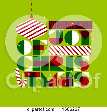 Christmas Postcard with Stylish Seasons Greetings and Composition of Festive Elements Such As Xmas Ball Gift, Candy Cane by elena