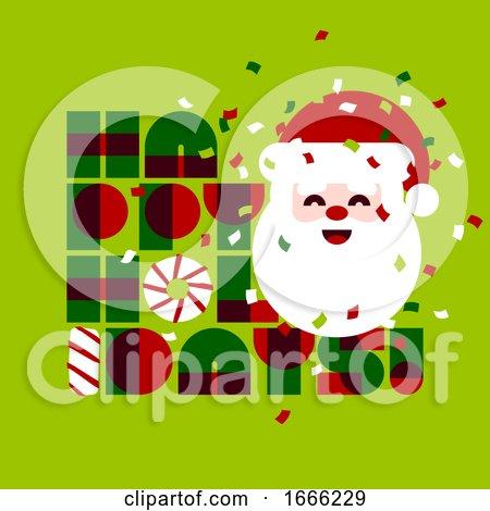 Christmas Card with Cute Santa Claus by elena
