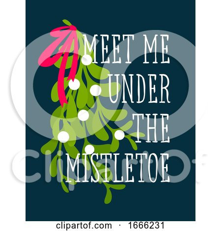 Christmas Card with Decorative Design and Meet Me Under the Mistletoe Greetings Posters, Art Prints