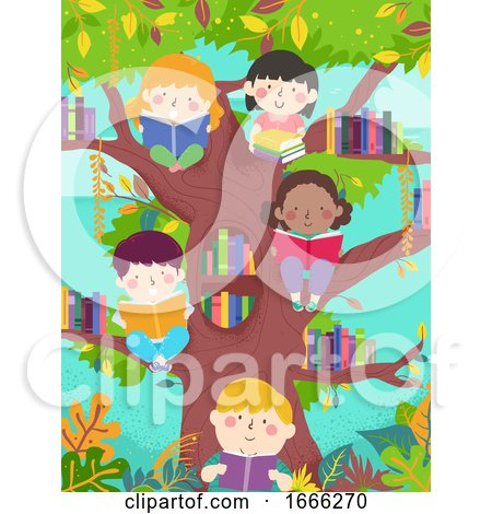 Kids Read Tree Library Illustration by BNP Design Studio