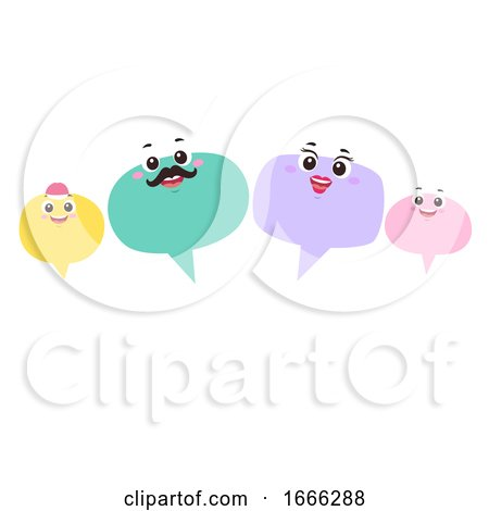 Mascot Speech Bubble Family Talk Illustration by BNP Design Studio