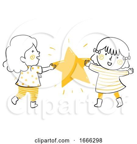 Kid Girls Share Hold Star Illustration by BNP Design Studio
