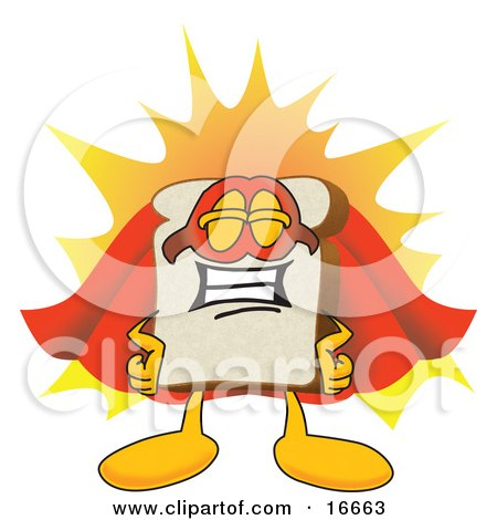 Clipart Picture of a Slice of White Bread Food Mascot Cartoon Character Wearing a Super Hero Cape and Mask by Toons4Biz