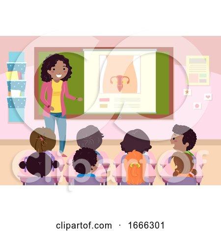 Stickman Kids Teacher Sex Education Female Organ by BNP Design Studio