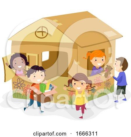 Stickman Kids Girls Cardboard House Play by BNP Design Studio