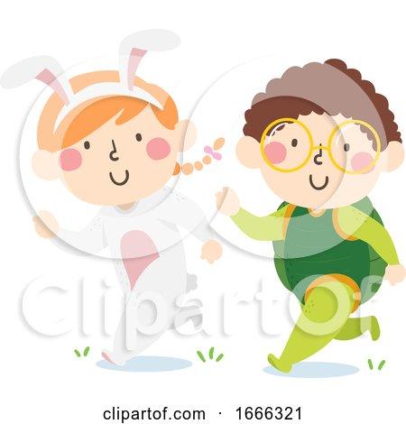 Kids Run Bunny Turtle Costume Illustration by BNP Design Studio