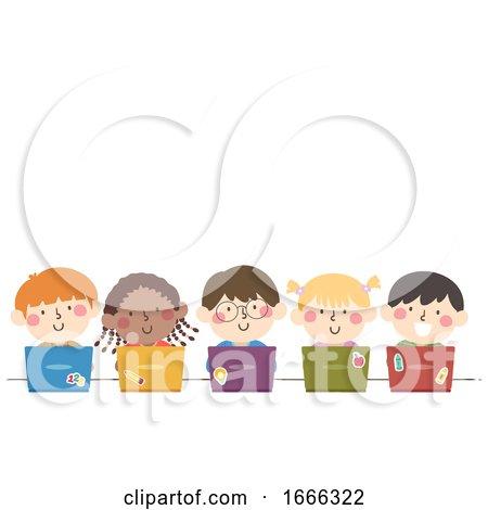 Kids Students Group Laptop Illustration by BNP Design Studio