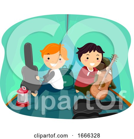 Stickman Kids Boys Music Camp Tent Illustration by BNP Design Studio