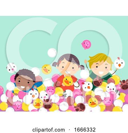 Stickman Kids Farm Animals Balls Play Illustration by BNP Design Studio