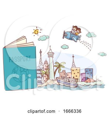 Stickman Kids Passport Travel Trip Illustration by BNP Design Studio