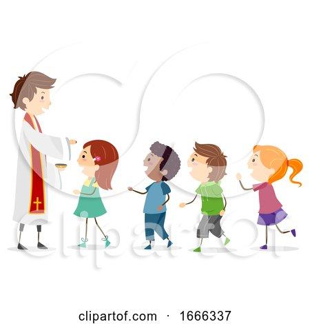 Stickman Kids Priest Ash Wednesday Illustration by BNP Design Studio