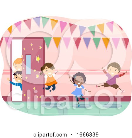 Stickman Kids School Corridor Decoration Happy by BNP Design Studio