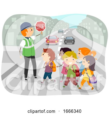 Stickman Kids School Crossing Guard Illustration by BNP Design Studio