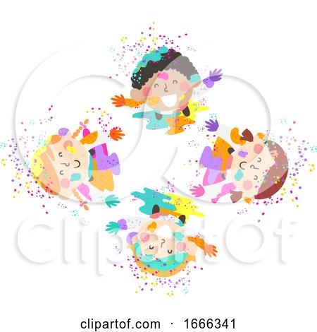 Kids Holi Powder Top View Illustration by BNP Design Studio