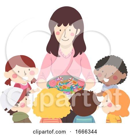 Kids Receive Treats from Teacher Illustration by BNP Design Studio