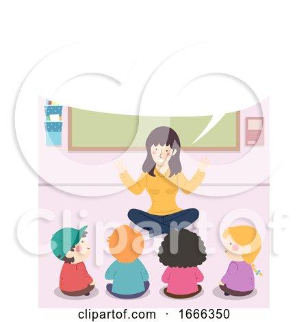 Kids Teacher Story Speech Bubble Sitting down by BNP Design Studio