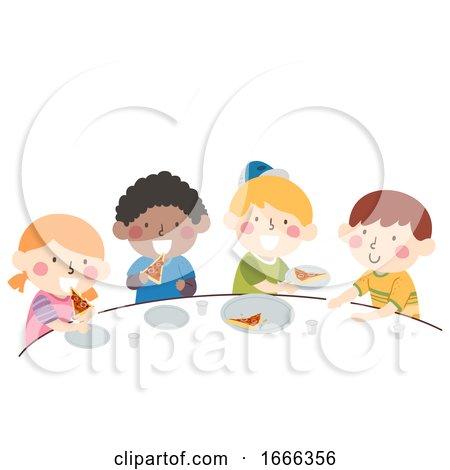 Kids Divide Pizza Equal Share Illustration by BNP Design Studio