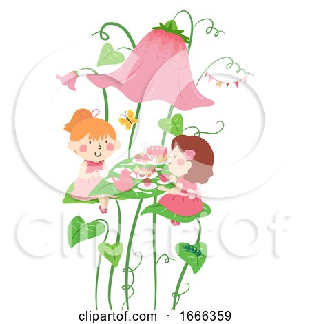 Kids Girls Tea Party Flower Illustration Posters, Art Prints