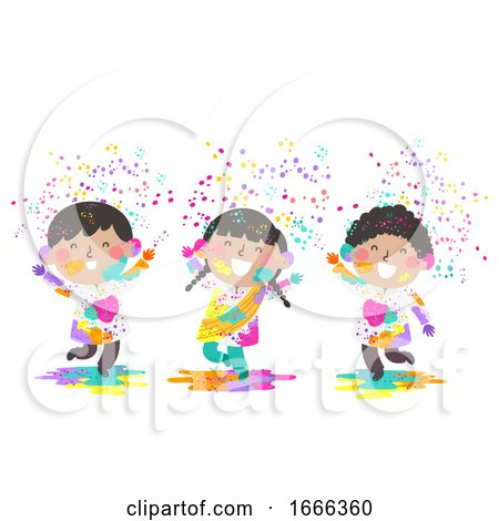 Kids Indian Holi Powder Illustration by BNP Design Studio