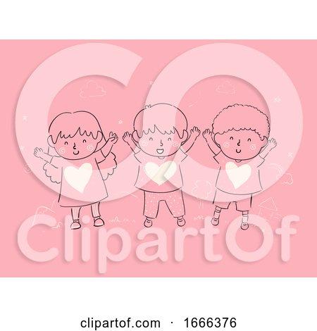 Kids Child Raising Full of Love Illustration Posters, Art Prints