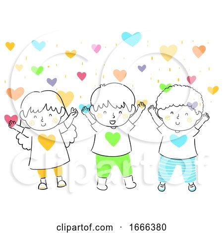 Kids Hearts Love Shower Illustration Posters, Art Prints