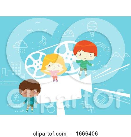 Kids Film Projector Pose Illustration by BNP Design Studio