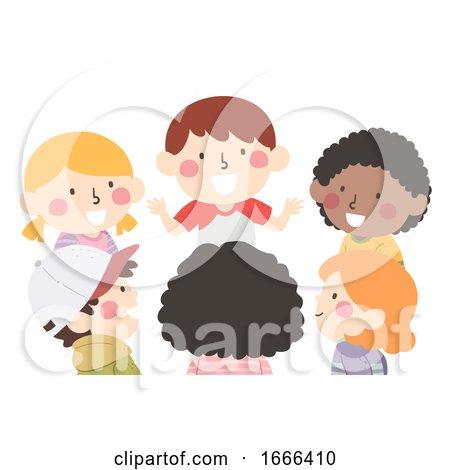 Kids Group Talk Illustration by BNP Design Studio