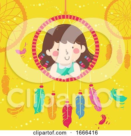 Kid Girl Pose Dream Catcher Illustration by BNP Design Studio