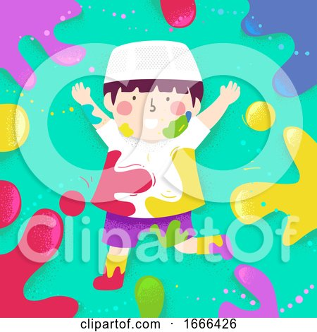 Kid Boy Muslim Color Splats Illustration by BNP Design Studio