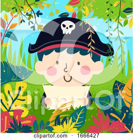 Kid Boy Pirate Find Treasure Jungle Illustration by BNP Design Studio