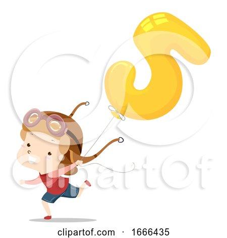Kid Boy Balloon Number Five Illustration by BNP Design Studio