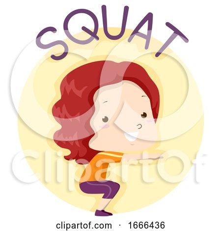 Kid Girl Exercise Squat Illustration by BNP Design Studio