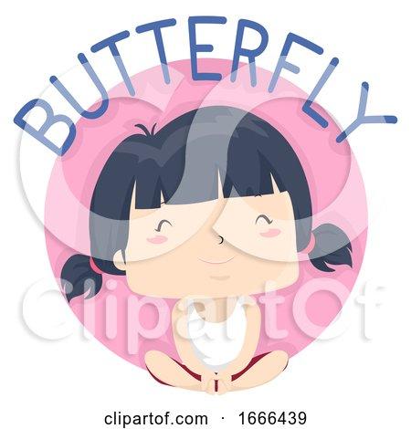 Kid Girl Exercise Butterfly Illustration by BNP Design Studio