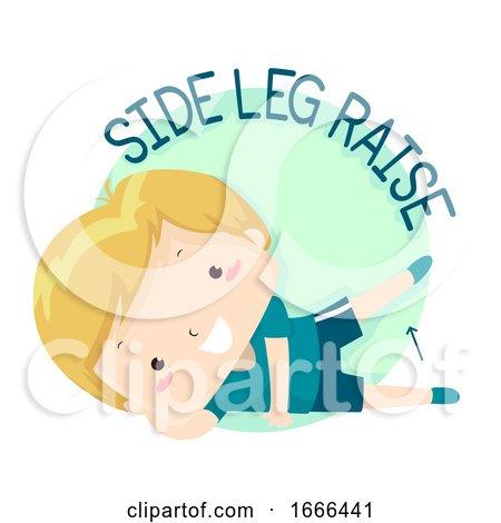 Kid Boy Exercise Side Leg Raise Illustration by BNP Design Studio