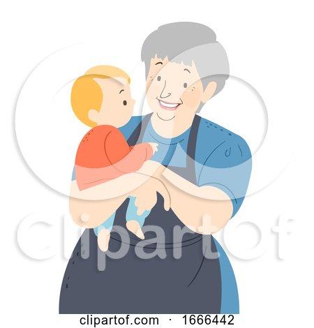 Senior Woman Nanny Baby Kid Boy Illustration by BNP Design Studio