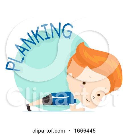 Kid Boy Exercise Planking Illustration by BNP Design Studio
