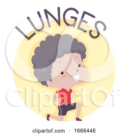 Kid Boy Exercise Lunges Illustration by BNP Design Studio