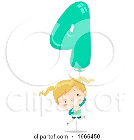 Kid Girl Balloon Number Four Illustration by BNP Design Studio