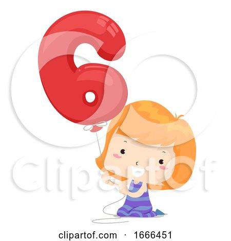 Kid Girl Balloon Number Six Illustration by BNP Design Studio