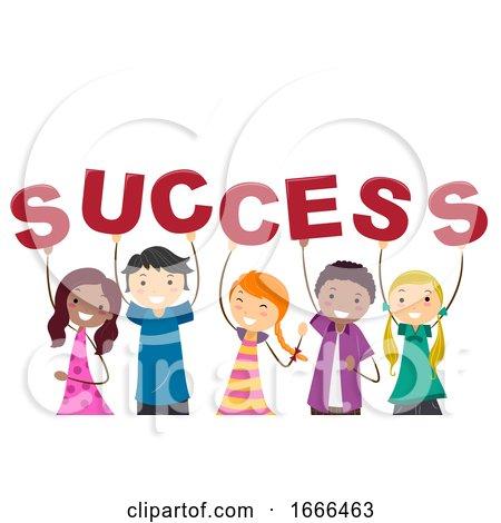 Stickman Teens Success Text Illustration by BNP Design Studio