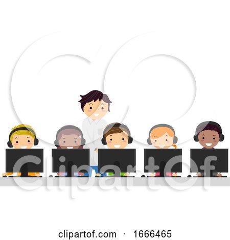 Stickman Teens Computer Study Illustration by BNP Design Studio