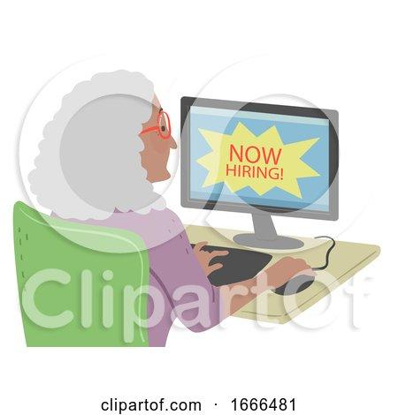 Senior Woman Find Online Job Illustration by BNP Design Studio