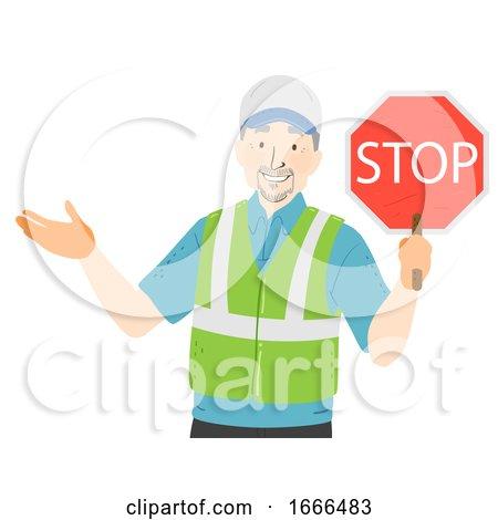 Senior Man Crossing Guard Illustration by BNP Design Studio