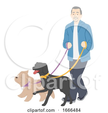 Senior Man Dogs Walk Illustration Posters, Art Prints