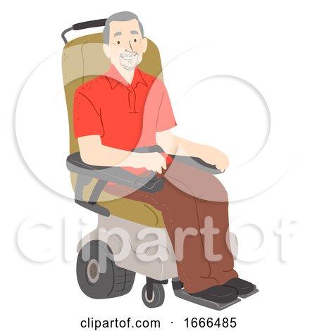 Senior Man Electric Wheelchair Illustration by BNP Design Studio