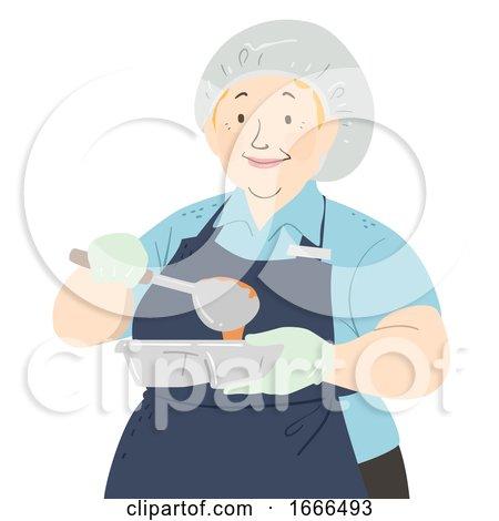 Senior Woman Cafeteria Worker Illustration by BNP Design Studio