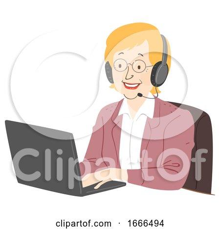 Senior Woman Call Center Illustration by BNP Design Studio