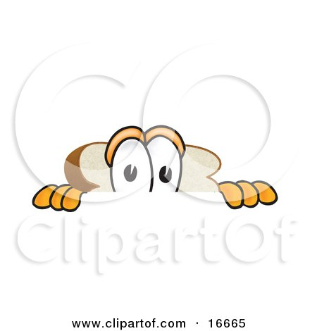 Clipart Picture of a Scared Slice of White Bread Food Mascot Cartoon Character Peeking Over a Surface by Toons4Biz