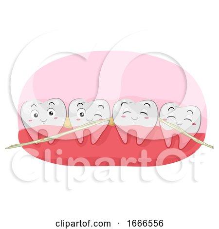 Teeth Mascot Dental Floss Thread Illustration by BNP Design Studio