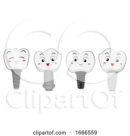 Teeth Mascot Tooth Implant Illustration by BNP Design Studio